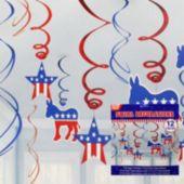 Democratic Swirl Decorations-12 Pack