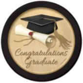 Golden Graduate Plates – 8 ¾ Inches, 8 Pack