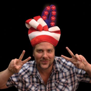 Flashing Patriotic LED Peace Hat