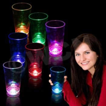 16 oz Blue LED Flashing Light Up Pint Glasses