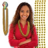 Gold Bead Necklace 33 Inch Long 7mm Beads