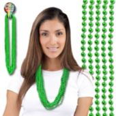 Green Bead Necklace 33 Inch Long 7mm Beads