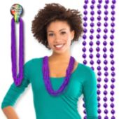 Purple Bead Necklaces - 12 Pack