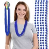 Blue Bead Necklace 33 Inch Long 7mm Beads