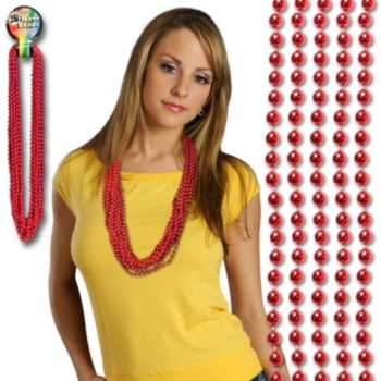 Red Bead Necklaces - 33 Inch, 12 Pack