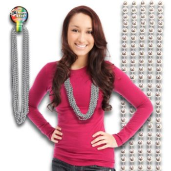 Silver Bead Necklaces - 33 Inch, 12 Pack