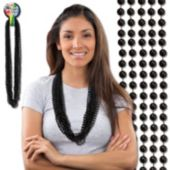 Black Bead Necklace 33 Inch Long 7mm Beads