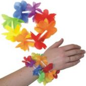 Multi-Color Silk Flower Lei Bracelets - 8 Inch, 12 Pack