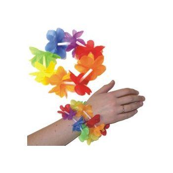 Multi-Color Silk Flower Lei Bracelets - 8 Inch, 12 Pack