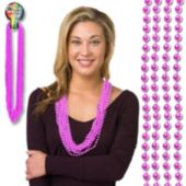 Light Pink Bead Necklaces - 33 Inch, 12 Pack