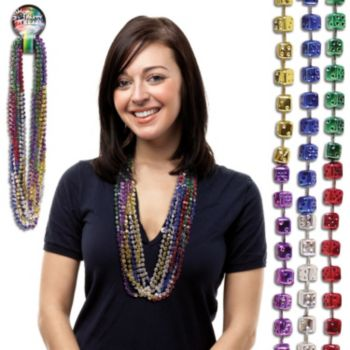 Assorted Color Dice Bead Necklaces - 33 Inch, 12 Pack