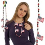 USA Flag Bead Necklaces 42 Inch Long
