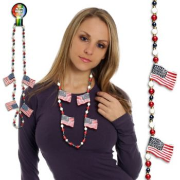"USA FLAG    42"" PATRIOTIC BEADS"