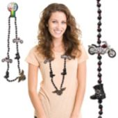Motorcycle Bead Necklace 42 Inch Long