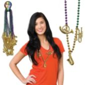 Mardi Gras Musical Bead Necklaces - 33 Inch, 12 Pack