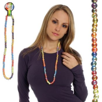 "RAINBOW BEADS   14mm 42"" LONG"