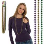 "Purple, Green, Gold Bead Necklaces-33""-12 Pack"