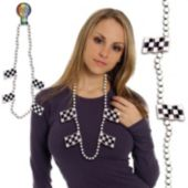 Checkered Flag Bead Necklace-42""