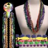 Assorted Color Metallic Bead Necklaces 33 Inch Long