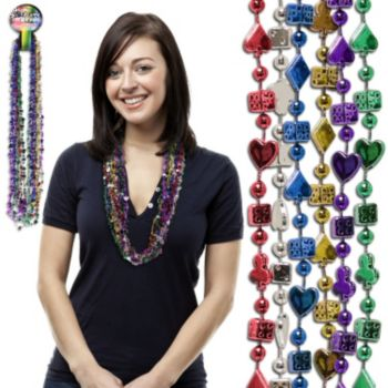 Casino Bead Necklaces - 33 Inch, 12 Pack