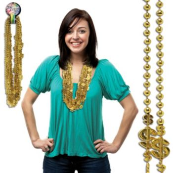 Gold Dollar Sign Bead Necklaces - 36 Inch, 12 Pack