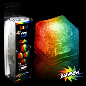 Rainbow LED Lited Ice Cubes - 4 Pack