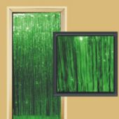 Green Metallic Fringed Door Curtain