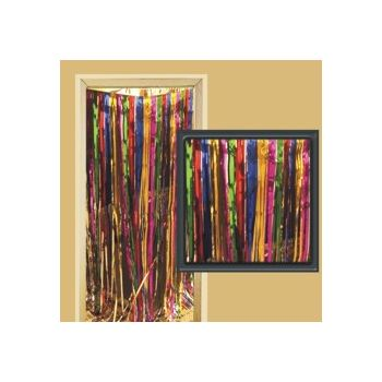 MULTI-COLOR METALLIC   FRINGE DOOR CURTAIN