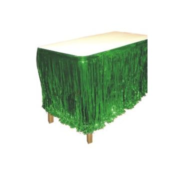 GREEN METALLIC   FRINGED TABLE SKIRT