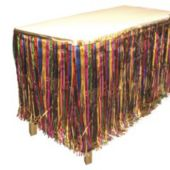 Multi Colored Metallic Fringed Table Skirt
