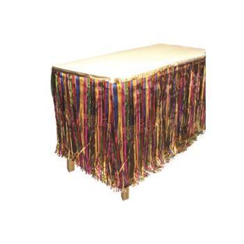 MULTI COLOR METALLIC   FRINGED TABLE SKIRT