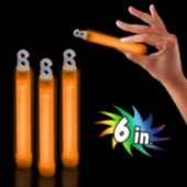 "Premium Orange 6"" Glow Sticks - 25 Pack"