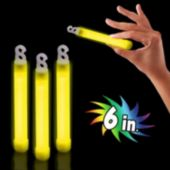 "Premium Yellow 6"" Glow Sticks - 25 Pack"