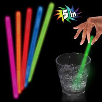 Green Glow Swizzle Sticks - 5 Inch, 50 Pack