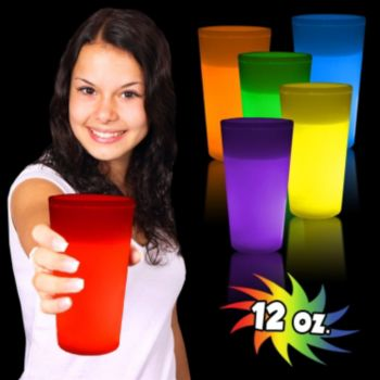 12 oz Glowing Glass in Yellow Red Green Orange Pink or Blue
