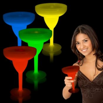 10 oz Glowing Margarita Glass in 5 Colors and Glow Drinkware