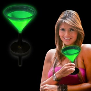 Green Glowing Martini Glass and Glow Drinkware