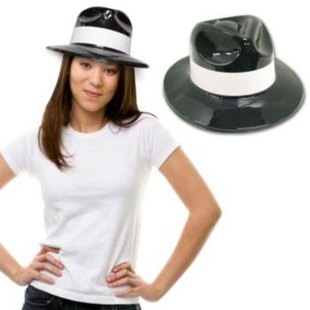 Black Plastic Gangster Hats - 12 Pack
