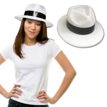 White Plastic Gangster Hats - 12 Pack