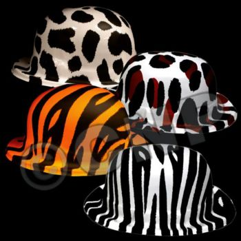 Animal Print Plastic Derby Hats - 12 Pack