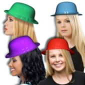 Assorted Color Plastic Derby Hats - 12 Pack