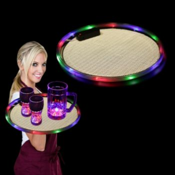 Flashing Multi-Color LED Serving Tray - 14 Inch