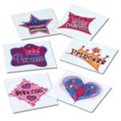 "1 1/2"" Princess Tattoos - 144 Pack"