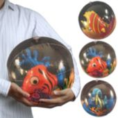 "17"" Blow Up Inflatable Clear Ball With Fish Inside"