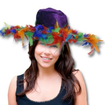 PURPLE VELVET HAT  MULTI COLOR FEATHERS