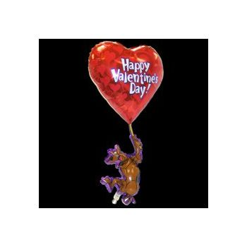 Valentine's Day Scooby Doo Metallic Balloon - 57 Inch