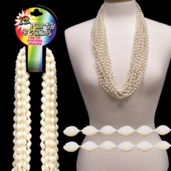 Pearl White Bead Necklaces - 33 Inch, 12 Pack