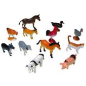 """Assorted 2 1/4"""" Farm Animals - 12 Pack"""