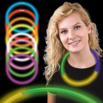 Mardi Gras Tri Color Supreme Glow Necklaces 6mm  50 Per Tube