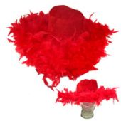 Red Show Daddy Hat with Feathers